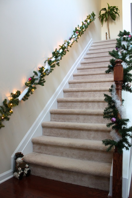 Simply modern mom christmas decorations house tour - How to decorate stairs for christmas ...
