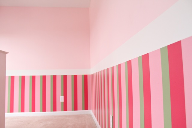 Simply modern mom girls pink bedroom makeover for Painting stripes on walls in kids room